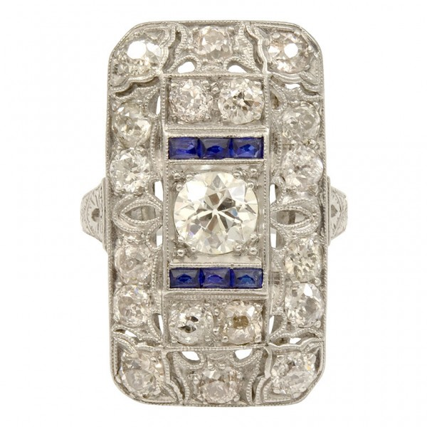 Art-Deco-Sapphire-Diamond-Platinum-Ring-1