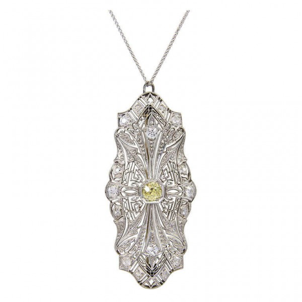 Art-deco-Fancy-Yellow-Diamond-Platinum-Pendant-1
