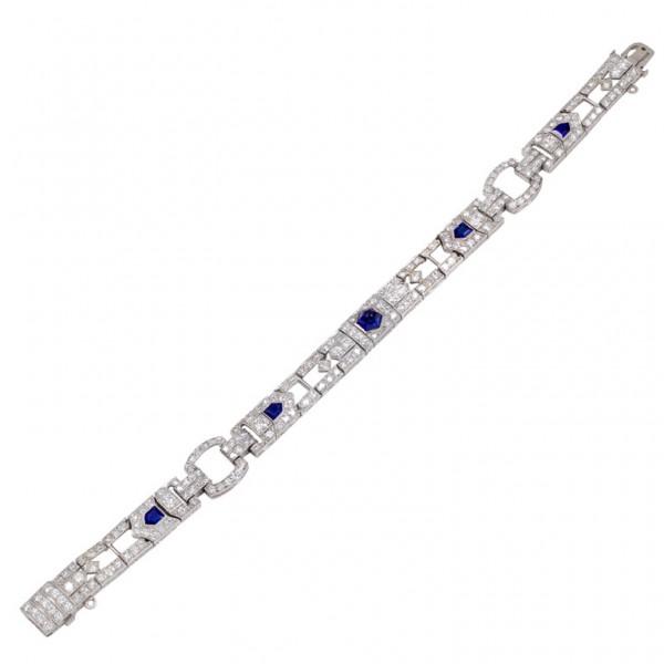Cabochon-Sapphire-Diamond-Art-Deco-Platinum-Bracelet-1