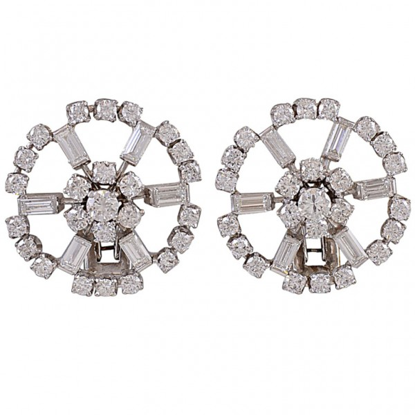 Diamond-Circle-Cluster-White-Gold-Clip-Earrings-1