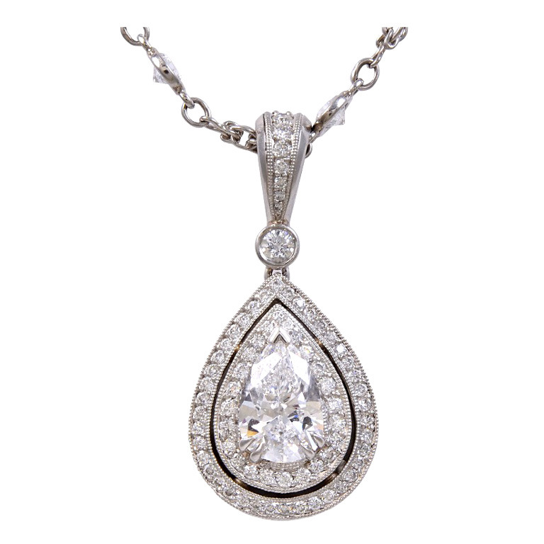 Beaudry pear shaped diamond pendant with diamond platinum chain beaudry pear shaped diamond pendant with diamond platinum chain charles schwartz son mozeypictures Images