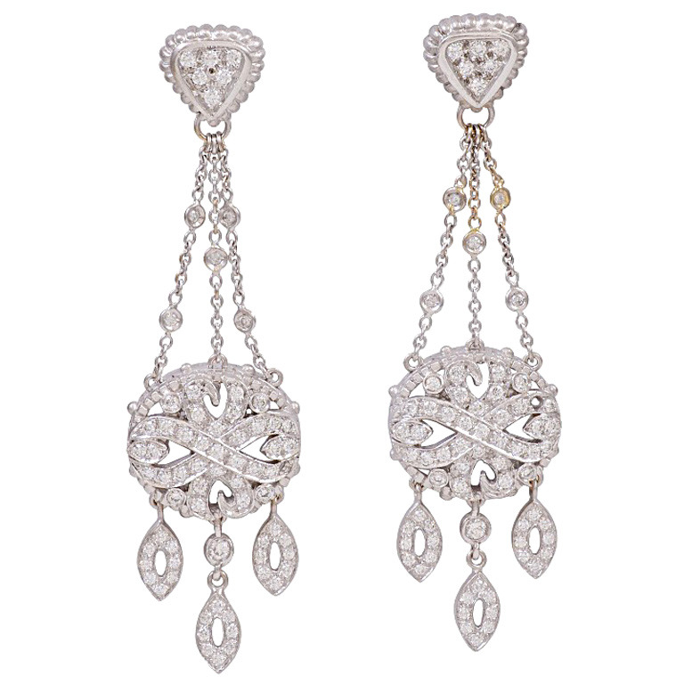 Doris Panos Diamond White Gold Chandelier Earrings 1