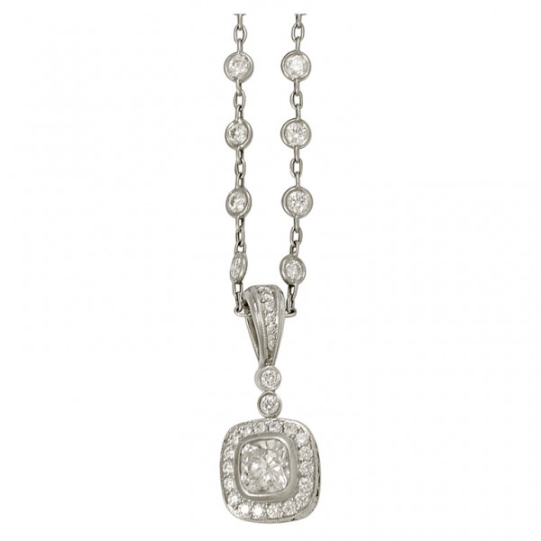 Michael-Beaudry-Cushion-Diamond-Pendant-on-a-Diamond-Platinum-Chain-1