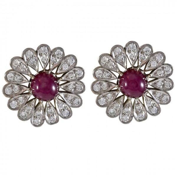 Cabochon-Ruby-Diamond-Gold-Floral-Button-Earrings