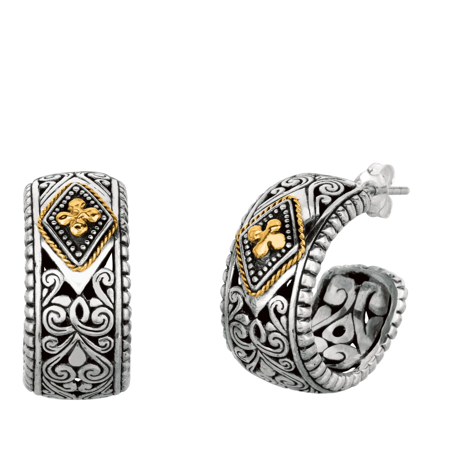 52c229bf67c3f 18K Yellow Gold & Sterling Silver Byzantine Hoop Earrings - Charles ...