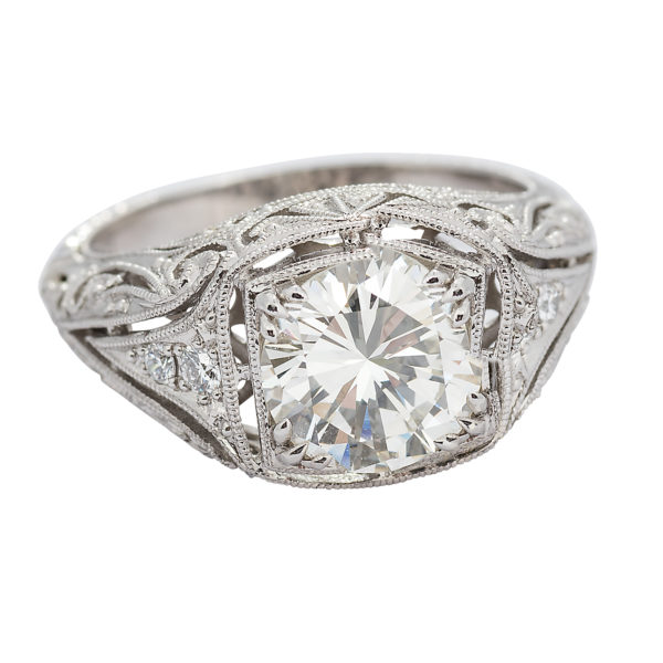 Art Deco Style 1.99 Carat Round Transitional Cut Diamond Platinum Engagement Ring