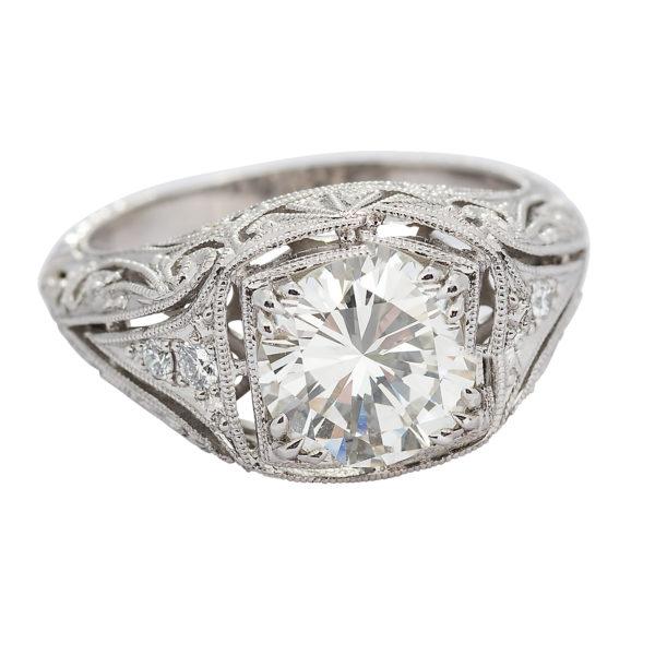 Art Deco Style 1.99 Carat Round Transitional Cut Diamond Platinum Engagement Ring