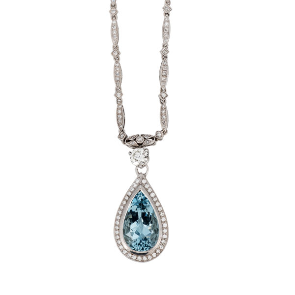 70544ed3fbd7a3 4.41 Carat Pear Shape Aquamarine and Diamond White Gold Pendant Necklace