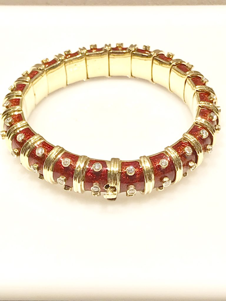 6c2e66f53 Schlumberger Red Enamel and Bezel Set Diamond Bangle Bracelet. Hover or  click on image to zoom.