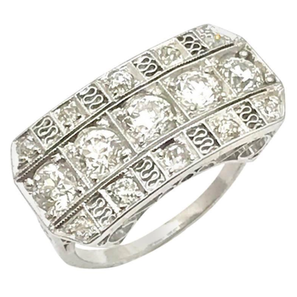 Art Deco Old European Cut Diamond Three-Row Platinum Ring