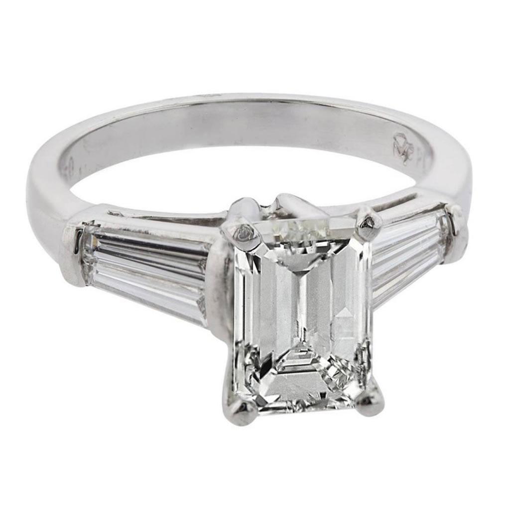 2 09 Carat Emerald Cut Diamond With Baguette Diamonds Platinum Engagement Ring Charles Schwartz Son
